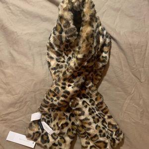 Ann Taylor Faux Fur Leopard Scarf